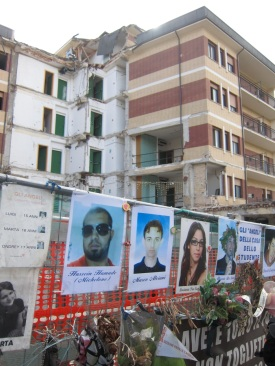 The faces of students who died in the fenced off school during the L'Aquila earthquake, Italy.